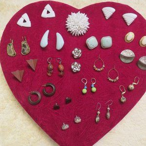17 Unique Pairs Earrings and a White Beaded Pin